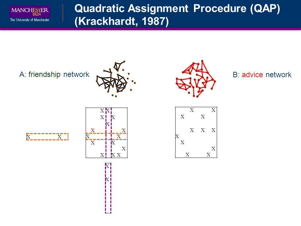 Quadratic Assignment Procedure (QAP) (Krackhardt, 1987) B: advice network A: friendship network XX XX XXX X X X XX X XXX XX XX X XX XX XX X XXX