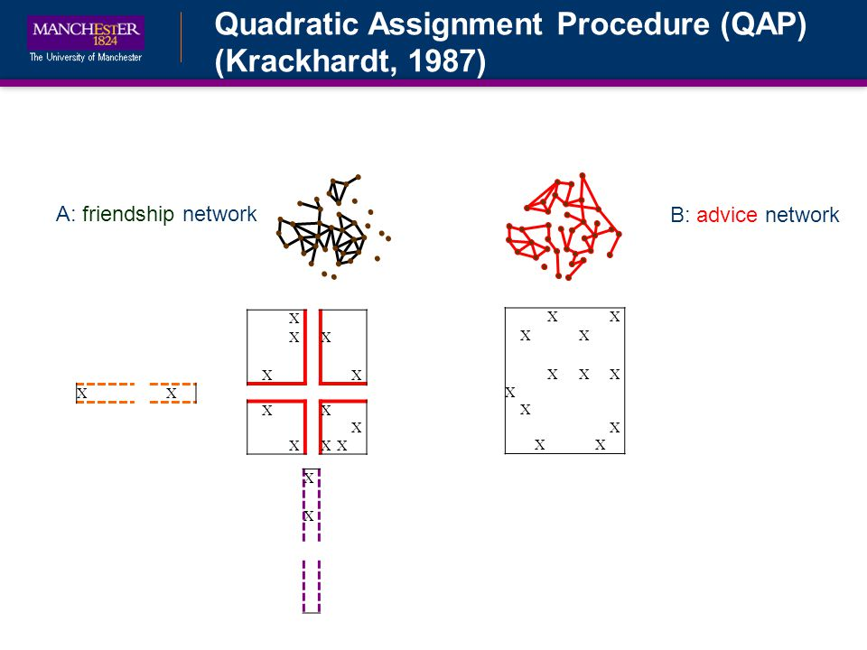 Quadratic Assignment Procedure (QAP) (Krackhardt, 1987) B: advice network A: friendship network XX XX XXX X X X XX X XXX X XX XX XX X XXX