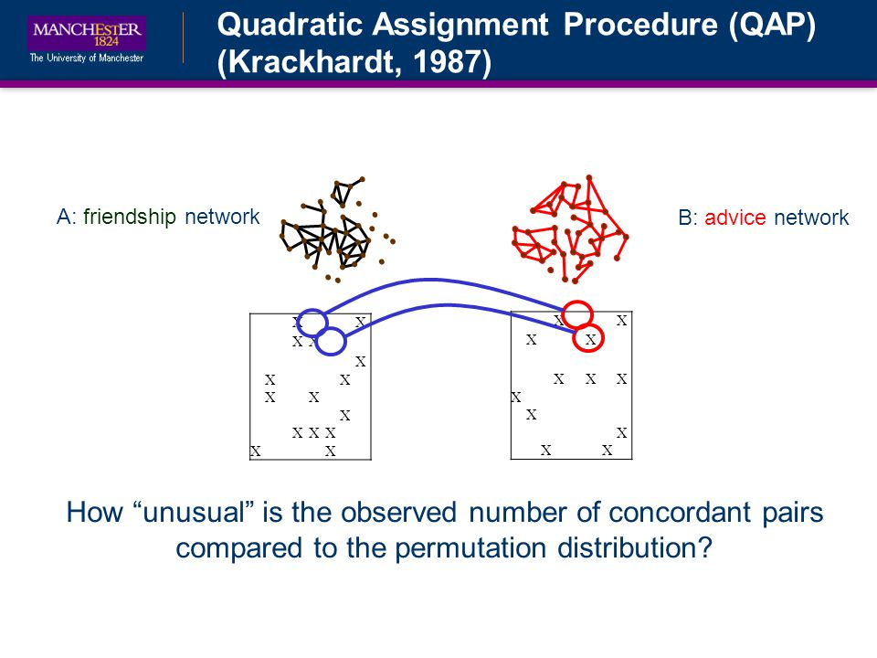 Quadratic Assignment Procedure (QAP) (Krackhardt, 1987) B: advice network A: friendship network XX XX XXX X X X XX XX XX X XX XX X XXX XX How unusual is the observed number of concordant pairs compared to the permutation distribution