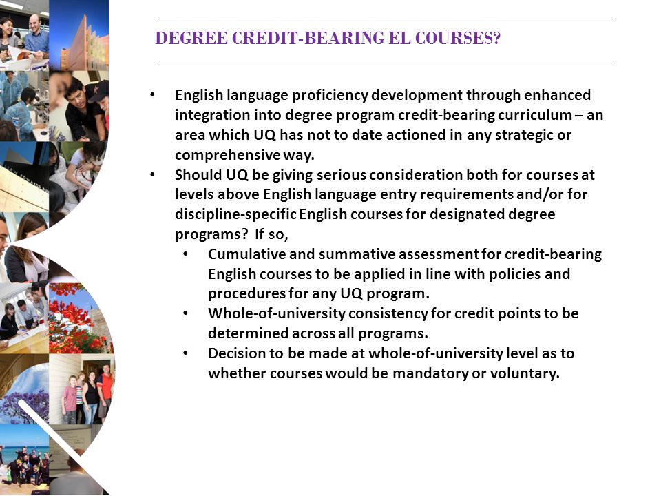 DEGREE CREDIT-BEARING EL COURSES.