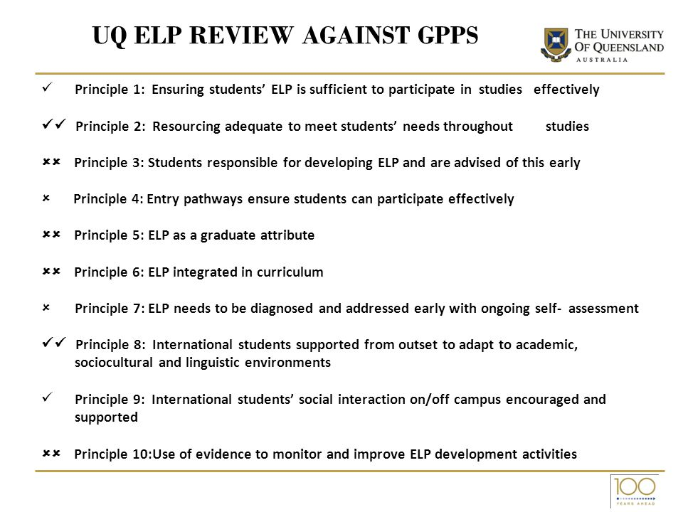 UQ ELP REVIEW AGAINST GPPS Principle 1: Ensuring students ELP is sufficient to participate in studies effectively Principle 2: Resourcing adequate to meet students needs throughout studies Principle 3: Students responsible for developing ELP and are advised of this early Principle 4: Entry pathways ensure students can participate effectively Principle 5: ELP as a graduate attribute Principle 6: ELP integrated in curriculum Principle 7: ELP needs to be diagnosed and addressed early with ongoing self- assessment Principle 8: International students supported from outset to adapt to academic, sociocultural and linguistic environments Principle 9: International students social interaction on/off campus encouraged and supported Principle 10:Use of evidence to monitor and improve ELP development activities