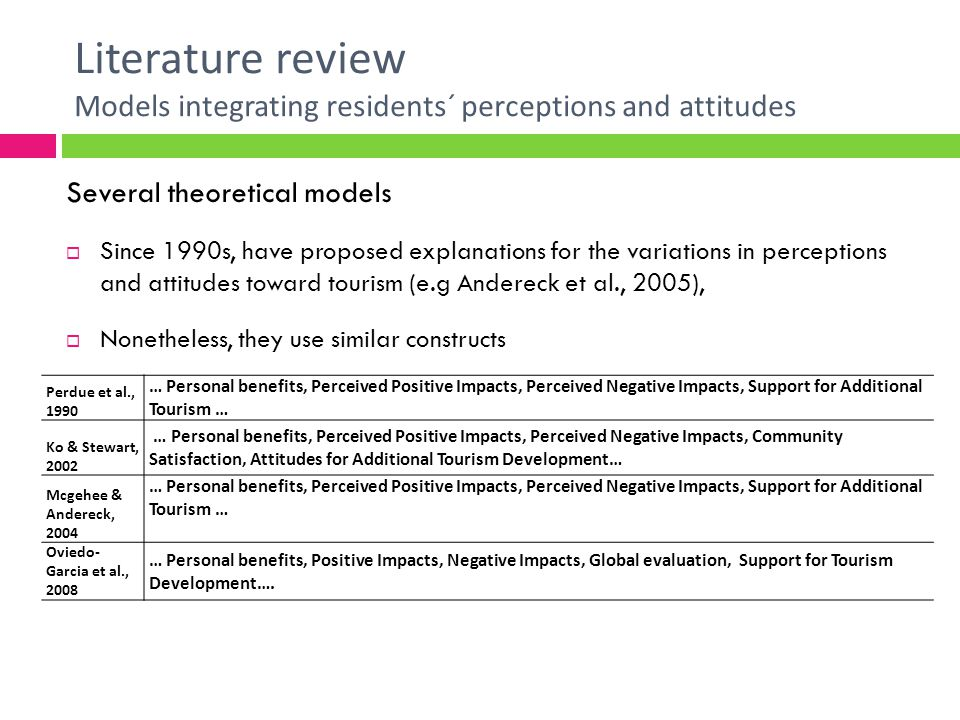 Literature review Models integrating residents´ perceptions and attitudes Several theoretical models Since 1990s, have proposed explanations for the variations in perceptions and attitudes toward tourism (e.g Andereck et al., 2005), Nonetheless, they use similar constructs Perdue et al., 1990 … Personal benefits, Perceived Positive Impacts, Perceived Negative Impacts, Support for Additional Tourism … Ko & Stewart, 2002 … Personal benefits, Perceived Positive Impacts, Perceived Negative Impacts, Community Satisfaction, Attitudes for Additional Tourism Development… Mcgehee & Andereck, 2004 … Personal benefits, Perceived Positive Impacts, Perceived Negative Impacts, Support for Additional Tourism … Oviedo- Garcia et al., 2008 … Personal benefits, Positive Impacts, Negative Impacts, Global evaluation, Support for Tourism Development….