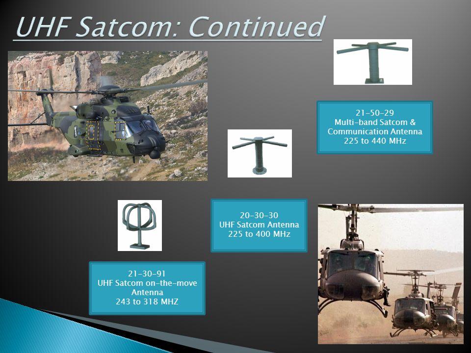 21-50-29 Multi-band Satcom & Communication Antenna 225 to 440 MHz 21-30-91 UHF Satcom on-the-move Antenna 243 to 318 MHZ 20-30-30 UHF Satcom Antenna 2