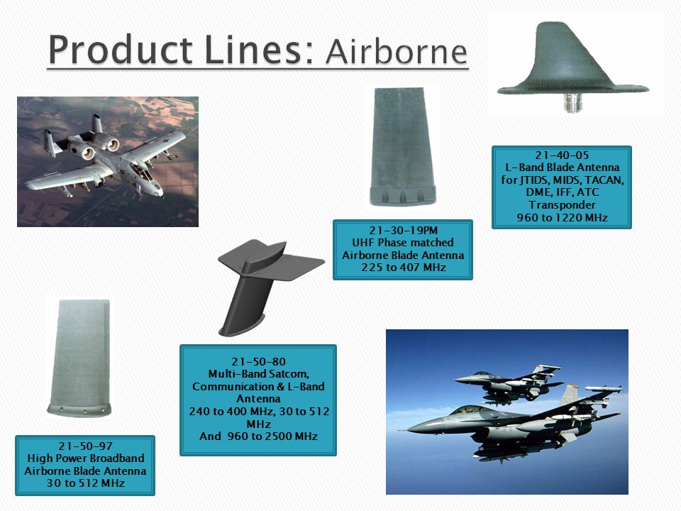 21-30-19PM UHF Phase matched Airborne Blade Antenna 225 to 407 MHz 21-50-97 High Power Broadband Airborne Blade Antenna 30 to 512 MHz 21-40-05 L-Band