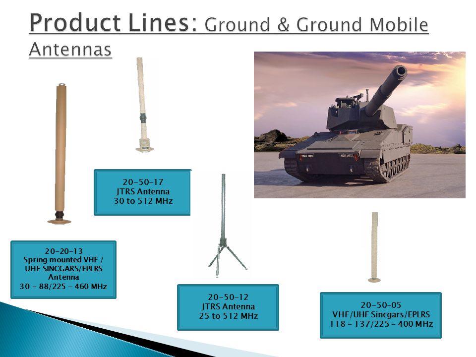 20-40-71 JTIDS Antenna 960-1220 MHz 20-50-16VM HIGH POWER JTRS Antenna Vehicle Mount 20-50-12VM JTRS Antenna 25 to 512 MHz