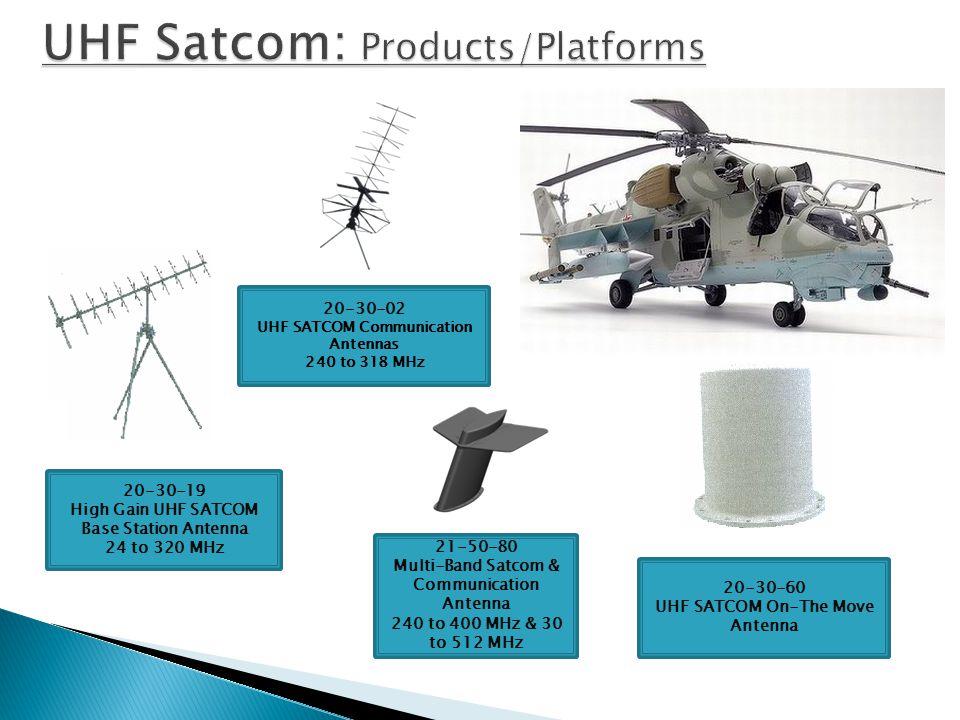 21-50-29 Multi-band Satcom & Communication Antenna 225 to 440 MHz 21-30-91 UHF Satcom on-the-move Antenna 243 to 318 MHZ 20-30-30 UHF Satcom Antenna 225 to 400 MHz