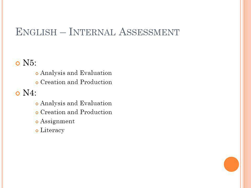 E NGLISH – I NTERNAL A SSESSMENT N5: Analysis and Evaluation Creation and Production N4: Analysis and Evaluation Creation and Production Assignment Li