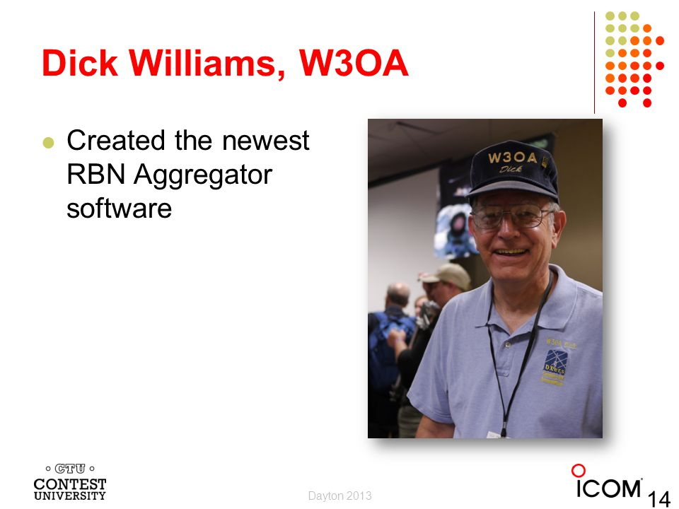 Dick Williams, W3OA Created the newest RBN Aggregator software Dayton 2013 14