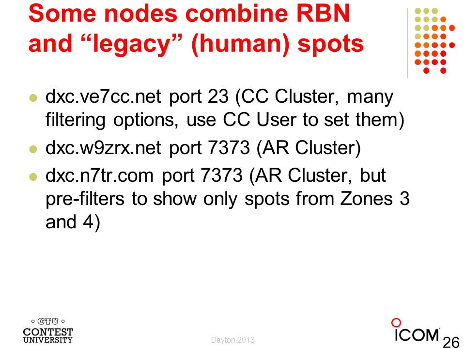 Some nodes combine RBN and legacy (human) spots dxc.ve7cc.net port 23 (CC Cluster, many filtering options, use CC User to set them) dxc.w9zrx.net port