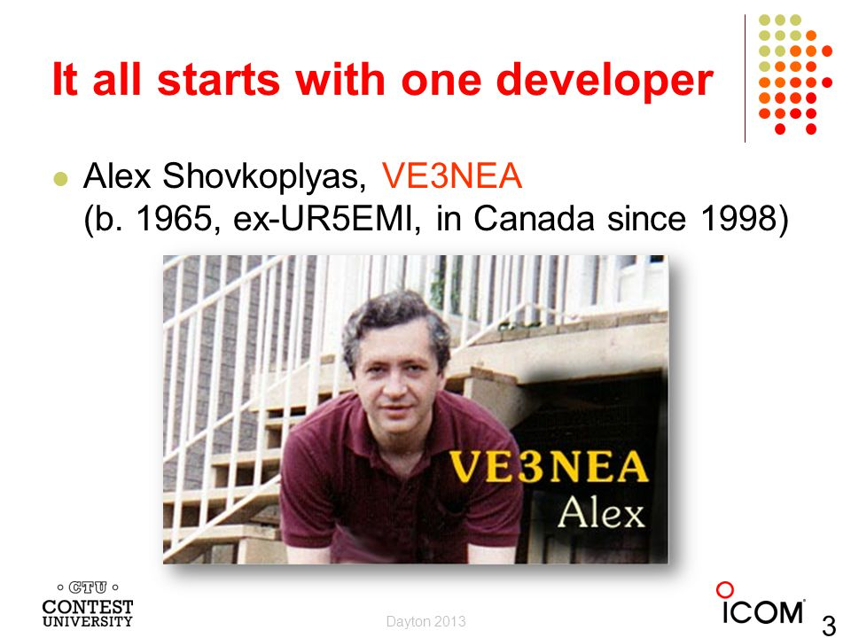 It all starts with one developer Alex Shovkoplyas, VE3NEA (b. 1965, ex-UR5EMI, in Canada since 1998) Dayton 2013 33
