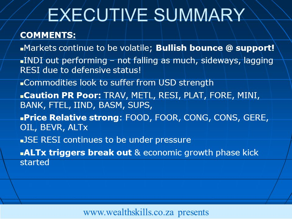 EXECUTIVE SUMMARY COMMENTS: Markets continue to be volatile; Bullish support.