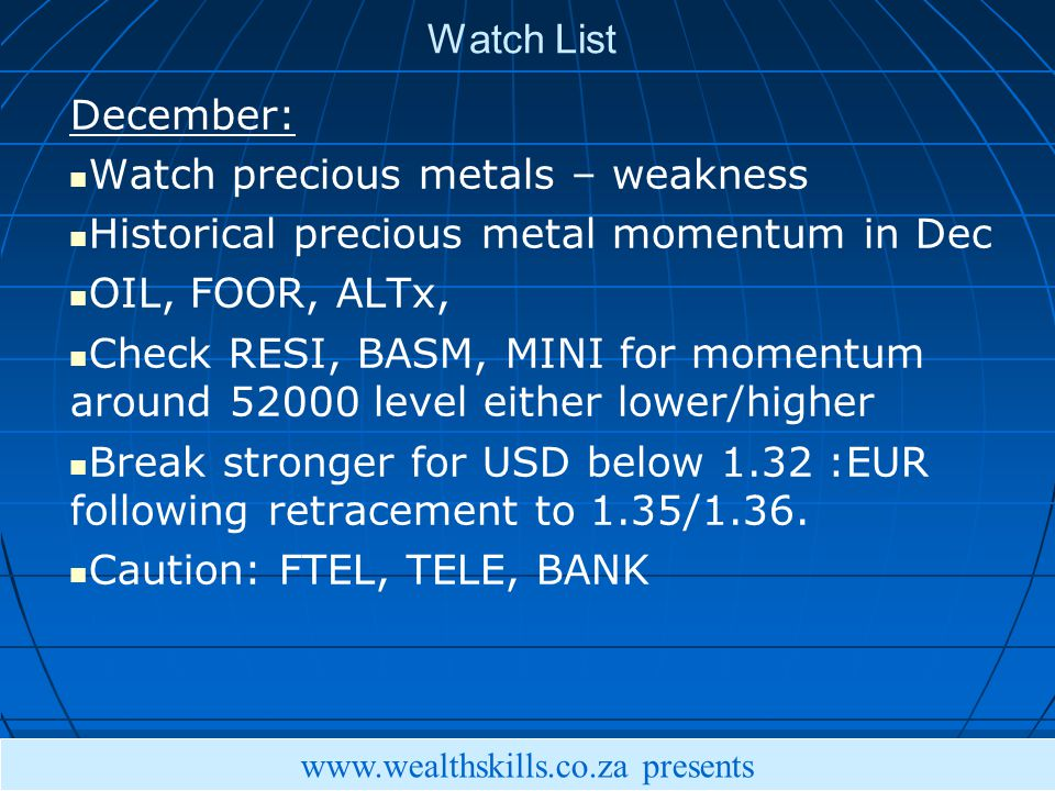 Watch List December: Watch precious metals – weakness Historical precious metal momentum in Dec OIL, FOOR, ALTx, Check RESI, BASM, MINI for momentum around level either lower/higher Break stronger for USD below 1.32 :EUR following retracement to 1.35/1.36.