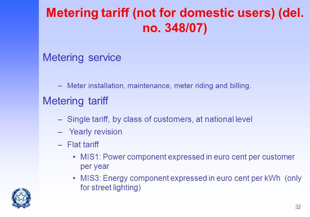 32 Metering tariff (not for domestic users) (del. no. 348/07) Metering service –Meter installation, maintenance, meter riding and billing. Metering ta