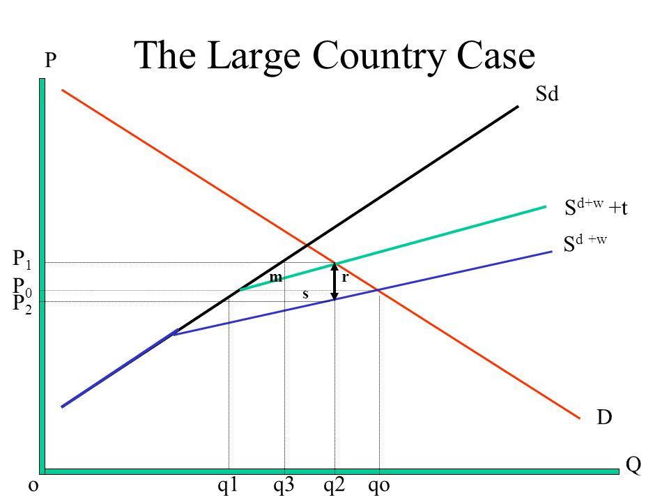 The Large Country Case D S d +w S d+w +t Sd Q P o q1 q3 q2 qo mr s P1P1 P0P0 P2P2