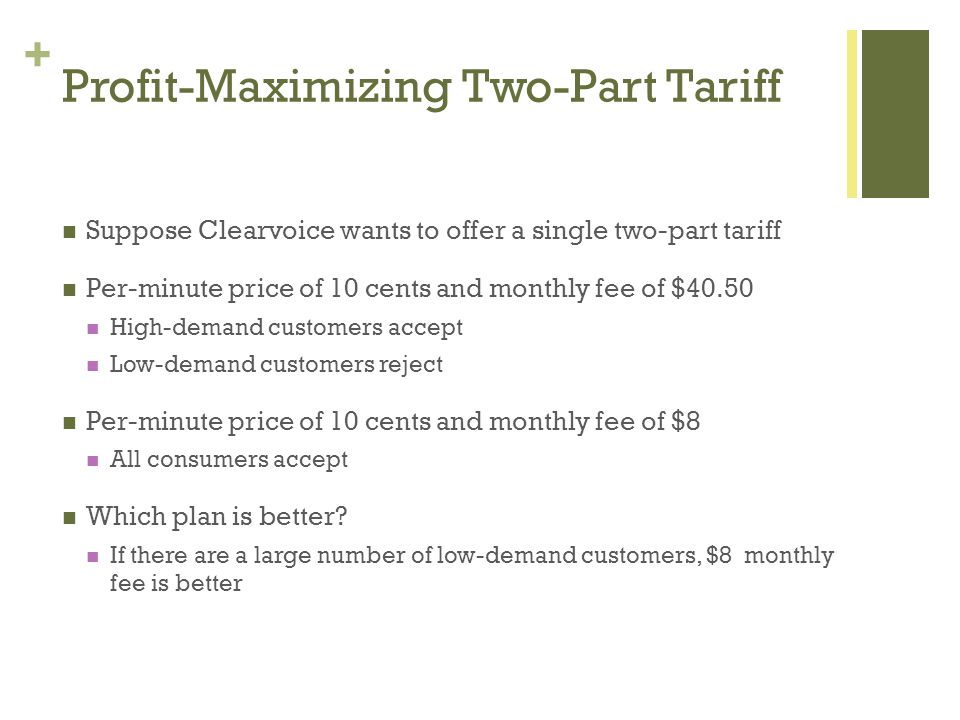 + Profit-Maximizing Two-Part Tariff Suppose Clearvoice wants to offer a single two-part tariff Per-minute price of 10 cents and monthly fee of $40.50