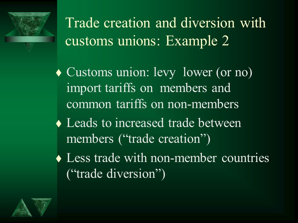 Trade creation and diversion with customs unions: Example 2 t Customs union: levy lower (or no) import tariffs on members and common tariffs on non-members t Leads to increased trade between members (trade creation) t Less trade with non-member countries (trade diversion)