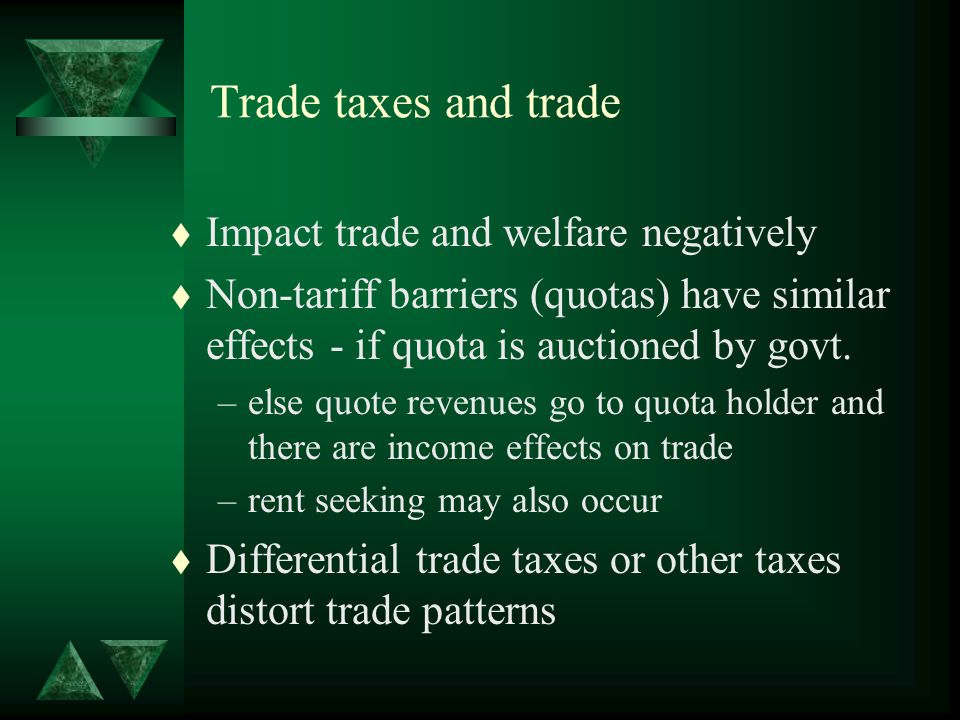 Trade taxes and trade t Impact trade and welfare negatively t Non-tariff barriers (quotas) have similar effects - if quota is auctioned by govt.
