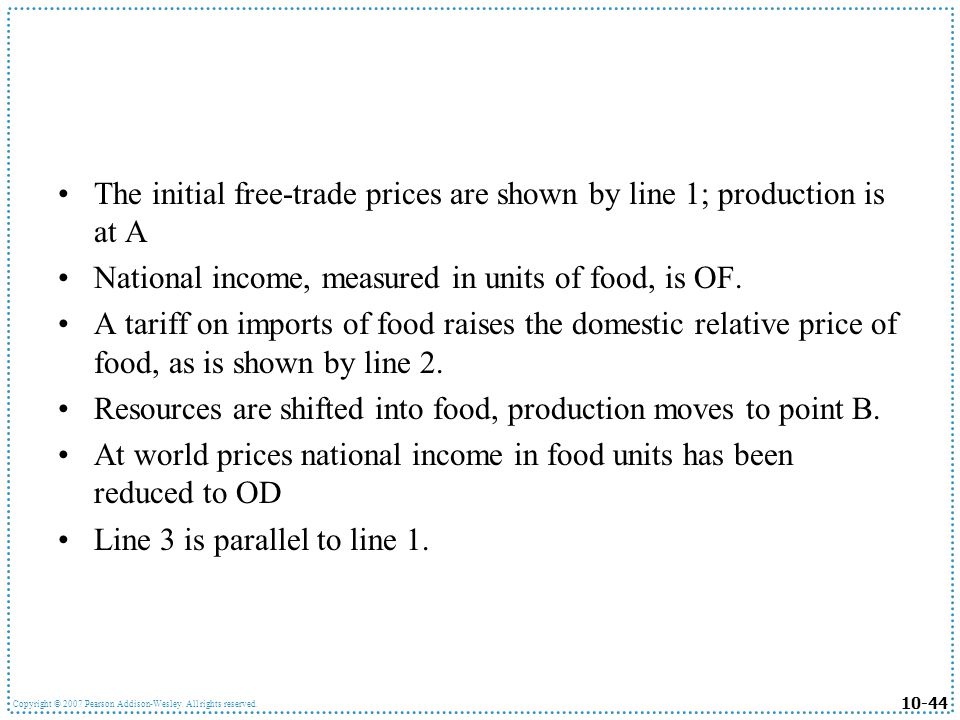 10-44 Copyright © 2007 Pearson Addison-Wesley. All rights reserved. The initial free-trade prices are shown by line 1; production is at A National inc
