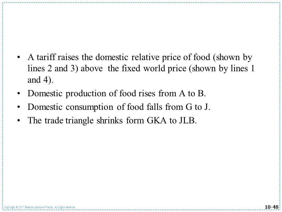 10-48 Copyright © 2007 Pearson Addison-Wesley. All rights reserved. A tariff raises the domestic relative price of food (shown by lines 2 and 3) above