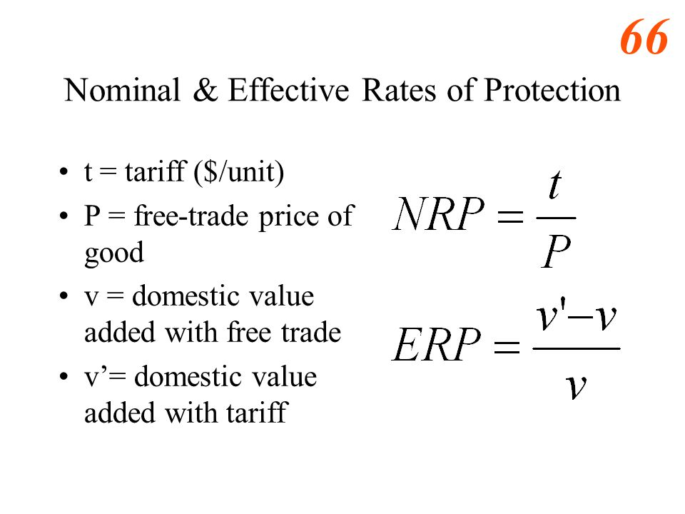 65 Nominal & Effective Rates of Protection t = tariff P = free-trade price of good v = domestic value added with free trade v= domestic value added wi