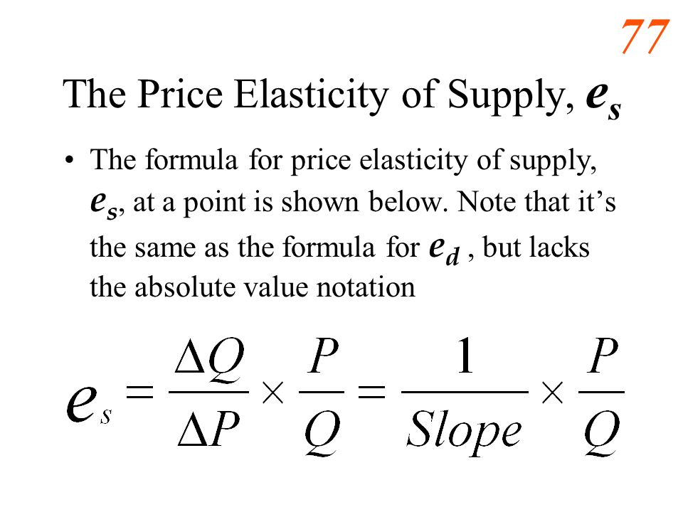76 Price Elasticity of Demand, e d e d and slope are inversely related.