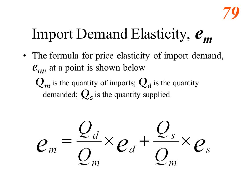 78 Import Demand Elasticity, e m The formula for price elasticity of import demand, e m, at a point is shown below. Q is the quantity of imports; P is