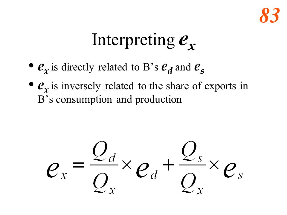 82 Export Supply Elasticity, e x The formula for price elasticity of export supply, e x, at a point is shown below. – Q x is the quantity of exports;