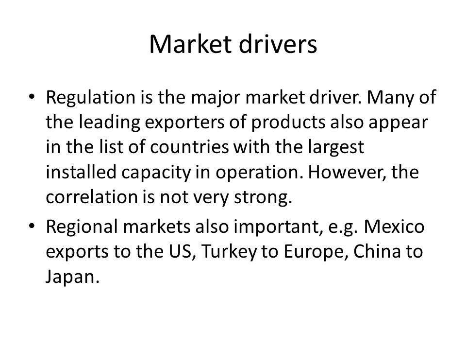 Market drivers Regulation is the major market driver.