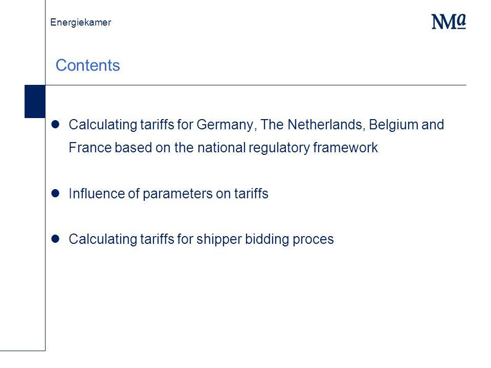 Energiekamer Tariffs (in euro/m3/h/y) for G, NL, B and F: 20 bcm pipeline