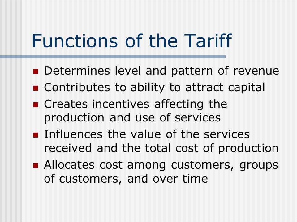 Tariff Design - Increasing Block (IBT) Periodic fixed (service) charge Two or more commodity prices ($/m 3 ), increasing with use: $5.00/month for residential connection, plus $0.75/m 3 for all water used up to 15 m 3 /month $1.00/m 3 for all water used in excess of of 15 m 3 /month, up to 30 m 3 /month $1.50/m 3 for all water used in excess of 30 m 3 /month