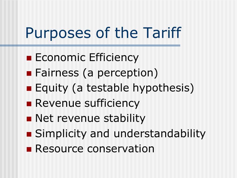 Tariff Design - Variants Increasing rate designs Combination block designs Free service allowances (form of increasing block) Seasonal water tariffs Seasonal sewer tariffs Lifeline rates