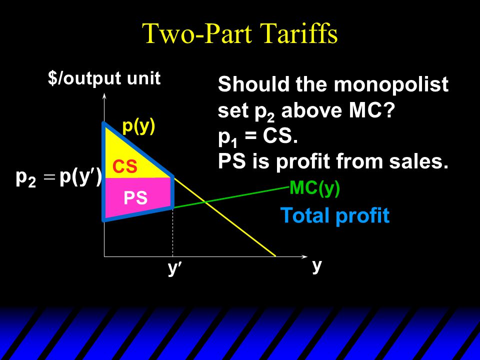 Two-Part Tariffs p(y) y $/output unit CS Should the monopolist set p 2 above MC.