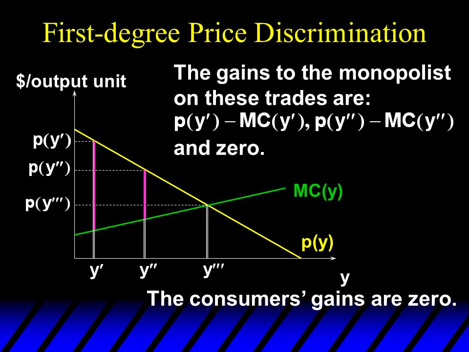 First-degree Price Discrimination p(y) y $/output unit MC(y) So the sum of the gains to the monopolist on all trades is the maximum possible total gains-to-trade.