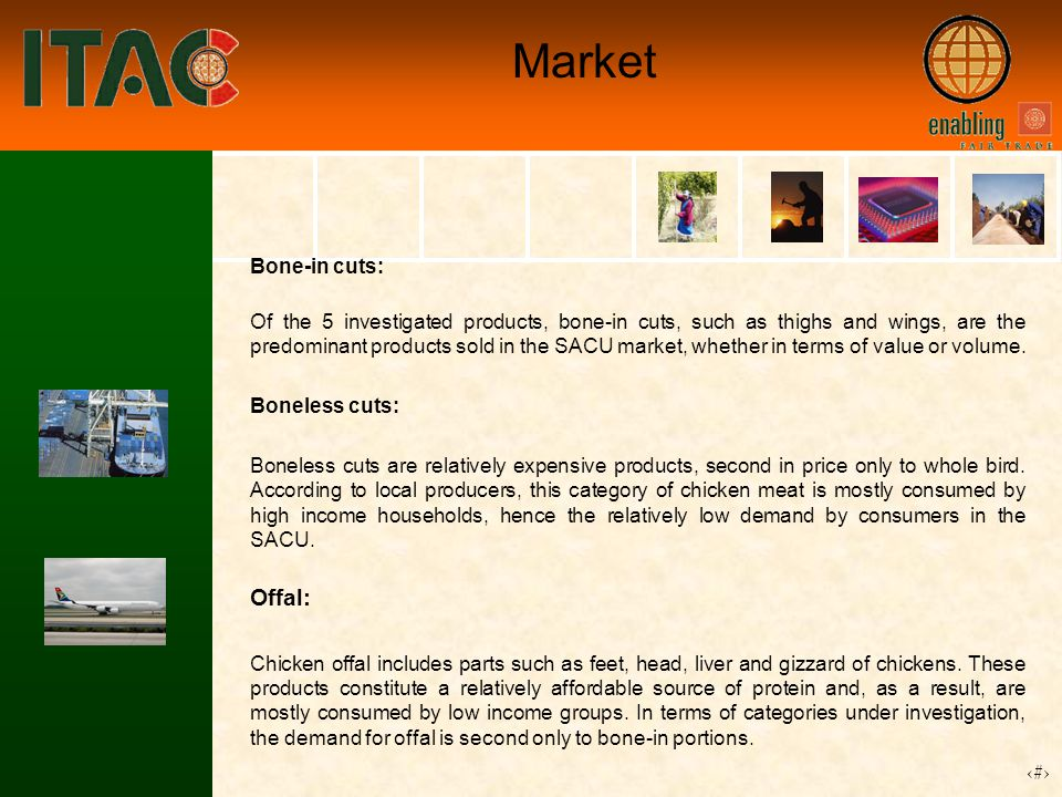 12 Market Bone-in cuts: Of the 5 investigated products, bone-in cuts, such as thighs and wings, are the predominant products sold in the SACU market, whether in terms of value or volume.