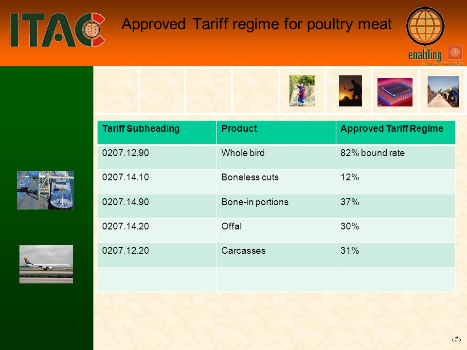 18 Approved Tariff regime for poultry meat Tariff SubheadingProductApproved Tariff Regime 0207.12.90Whole bird82% bound rate 0207.14.10Boneless cuts12% 0207.14.90Bone-in portions37% 0207.14.20Offal30% 0207.12.20Carcasses31%