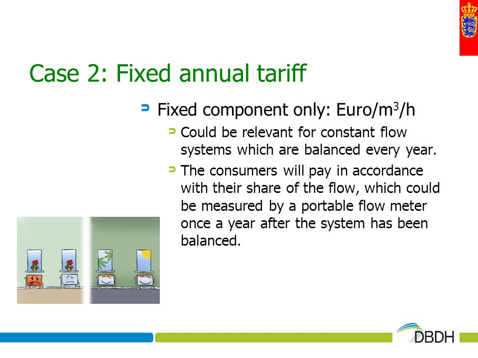 Case 2: Fixed annual tariff Fixed component only: Euro/m 3 /h Could be relevant for constant flow systems which are balanced every year. The consumers