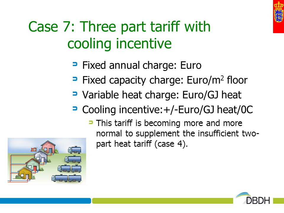 Case 7: Three part tariff with cooling incentive Fixed annual charge: Euro Fixed capacity charge: Euro/m 2 floor Variable heat charge: Euro/GJ heat Co