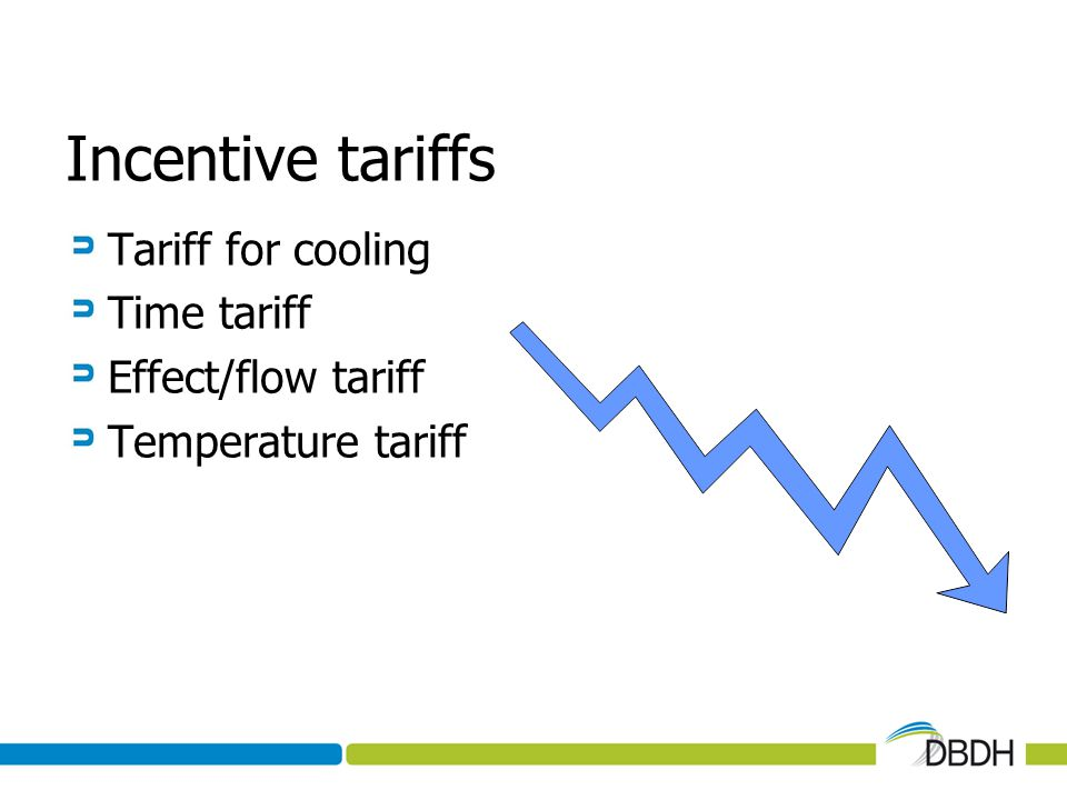 Incentive tariffs Tariff for cooling Time tariff Effect/flow tariff Temperature tariff