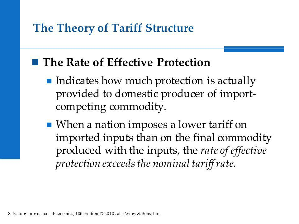 The Theory of Tariff Structure The Rate of Effective Protection Indicates how much protection is actually provided to domestic producer of import- com