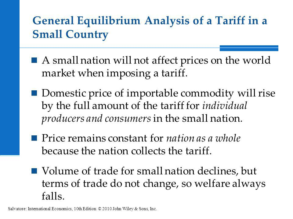 General Equilibrium Analysis of a Tariff in a Small Country A small nation will not affect prices on the world market when imposing a tariff. Domestic
