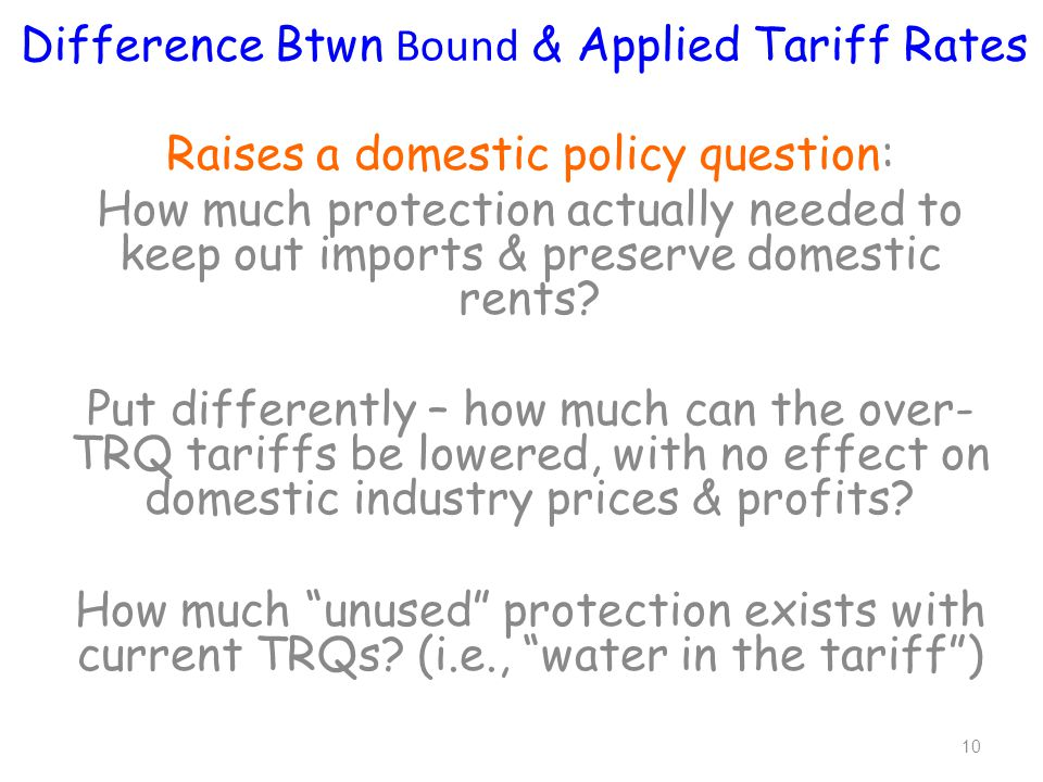 Raises a domestic policy question: How much protection actually needed to keep out imports & preserve domestic rents.