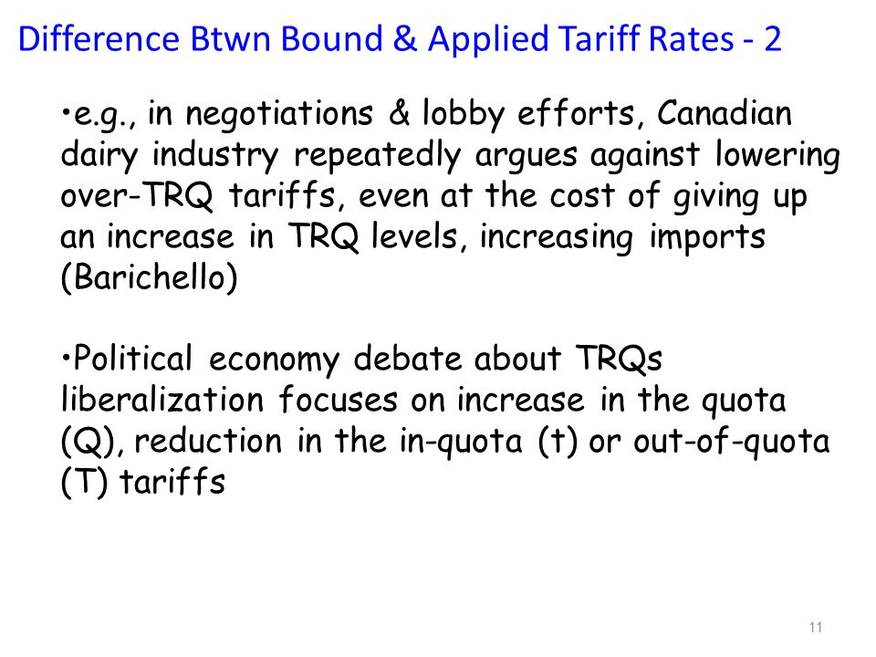 11 e.g., in negotiations & lobby efforts, Canadian dairy industry repeatedly argues against lowering over-TRQ tariffs, even at the cost of giving up an increase in TRQ levels, increasing imports (Barichello) Political economy debate about TRQs liberalization focuses on increase in the quota (Q), reduction in the in-quota (t) or out-of-quota (T) tariffs Difference Btwn Bound & Applied Tariff Rates - 2
