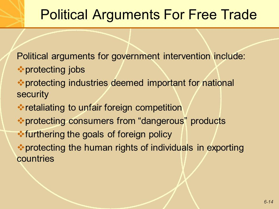 6-14 Political Arguments For Free Trade Political arguments for government intervention include: protecting jobs protecting industries deemed importan