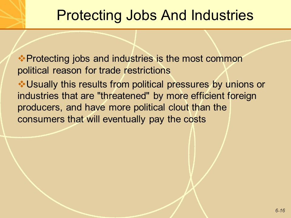 6-16 Protecting Jobs And Industries Protecting jobs and industries is the most common political reason for trade restrictions Usually this results fro