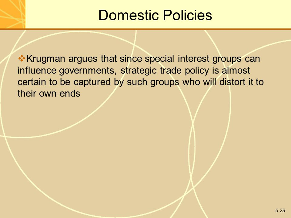 6-28 Domestic Policies Krugman argues that since special interest groups can influence governments, strategic trade policy is almost certain to be cap
