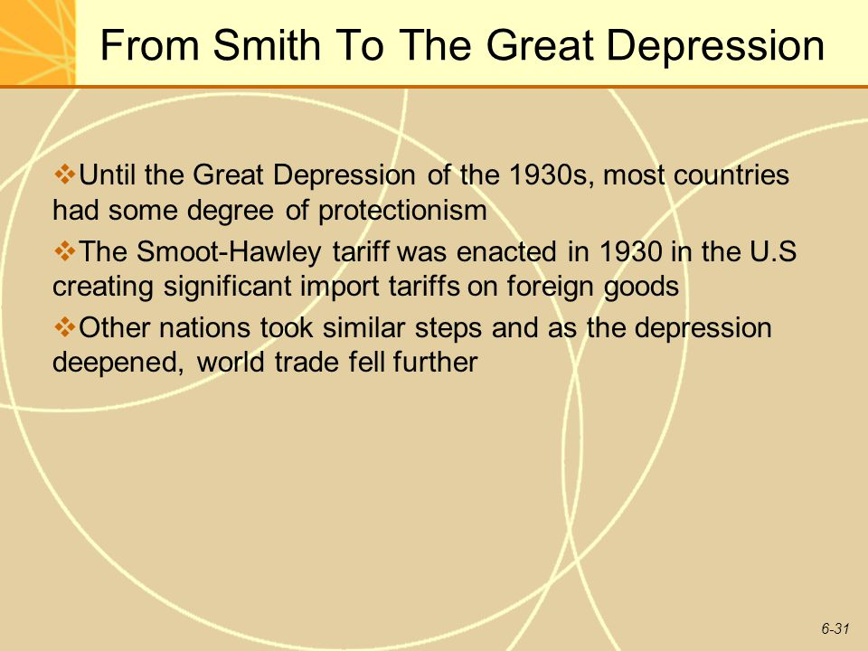 6-31 From Smith To The Great Depression Until the Great Depression of the 1930s, most countries had some degree of protectionism The Smoot-Hawley tari