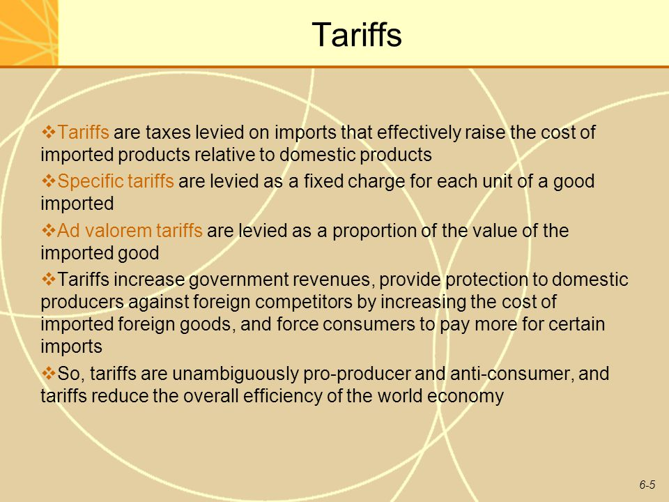 6-6 Subsidies Subsidies are government payments to domestic producers Consumers typically absorb the costs of subsidies Subsidies help domestic producers in two ways: they help them compete against low-cost foreign imports they help them gain export markets