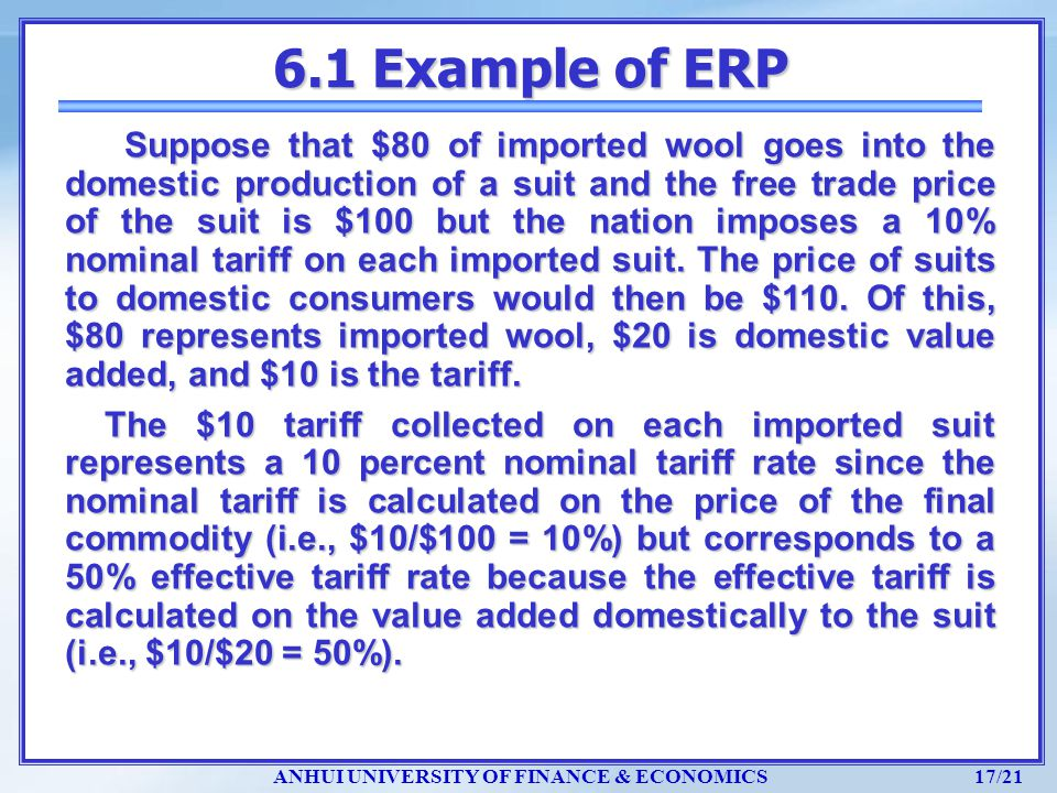 ANHUI UNIVERSITY OF FINANCE & ECONOMICS 17/21 6.1 Example of ERP Suppose that $80 of imported wool goes into the domestic production of a suit and the