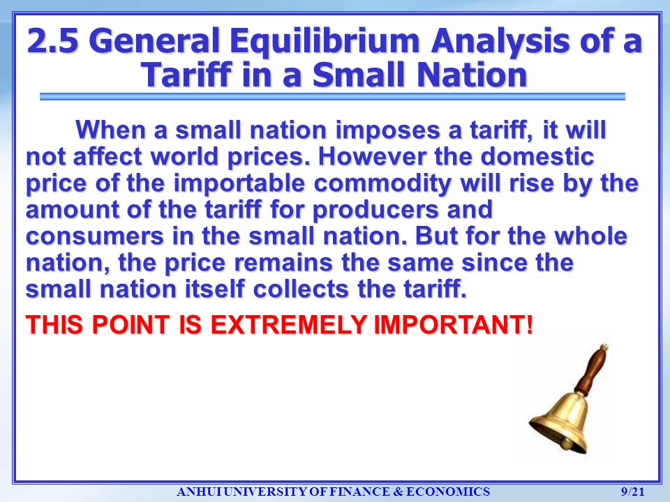 ANHUI UNIVERSITY OF FINANCE & ECONOMICS 10/21 2.6 General Equilibrium Effects of a Tariff in a Small Nation