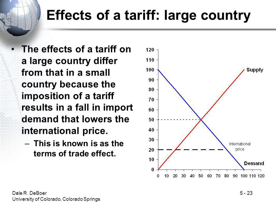 Dale R. DeBoer University of Colorado, Colorado Springs 5 - 23 Effects of a tariff: large country The effects of a tariff on a large country differ fr